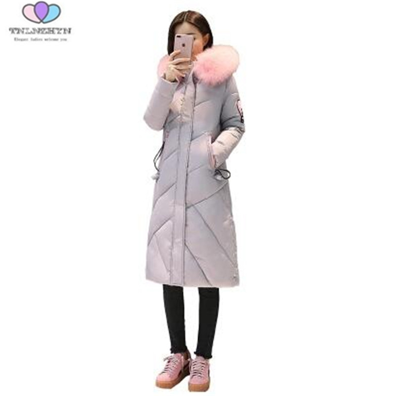 2017 New Winter Women Down Cotton Jackets Coats Thick Warm Cotton Jacket Slim Hooded Pink Fur Collar Parka TNLNZHYN E119
