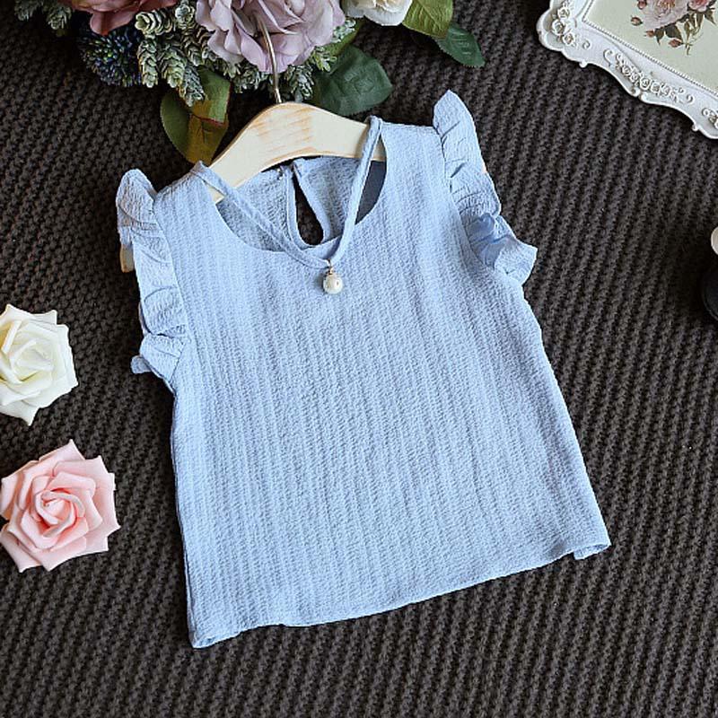 5b4068525 Conjunto de ropa de verano para niños camiseta sin mangas con volantes Top  Shorts 2-9 años Niñas ...