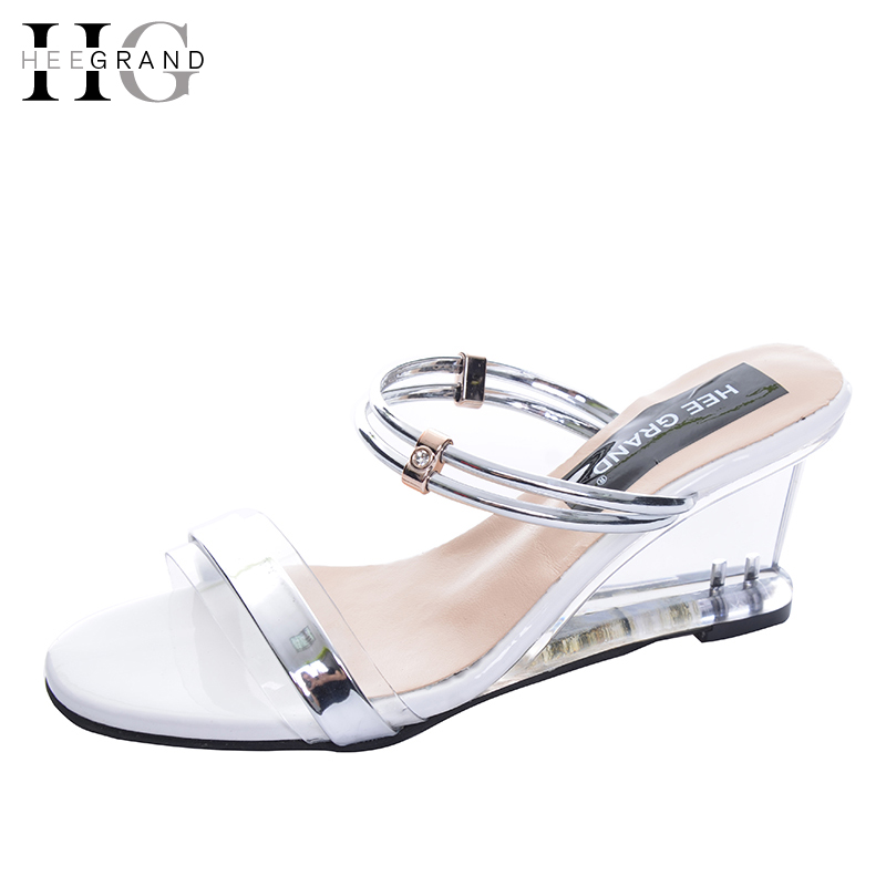 HEE GRAND Summer Wedges Sandals 2017 Transparent High Heels Beach Shoes Woman Casual Pumps Platform Gladiator Sandals XWZ4078 phyanic 2017 gladiator sandals gold silver shoes woman summer platform wedges glitters creepers casual women shoes phy3323