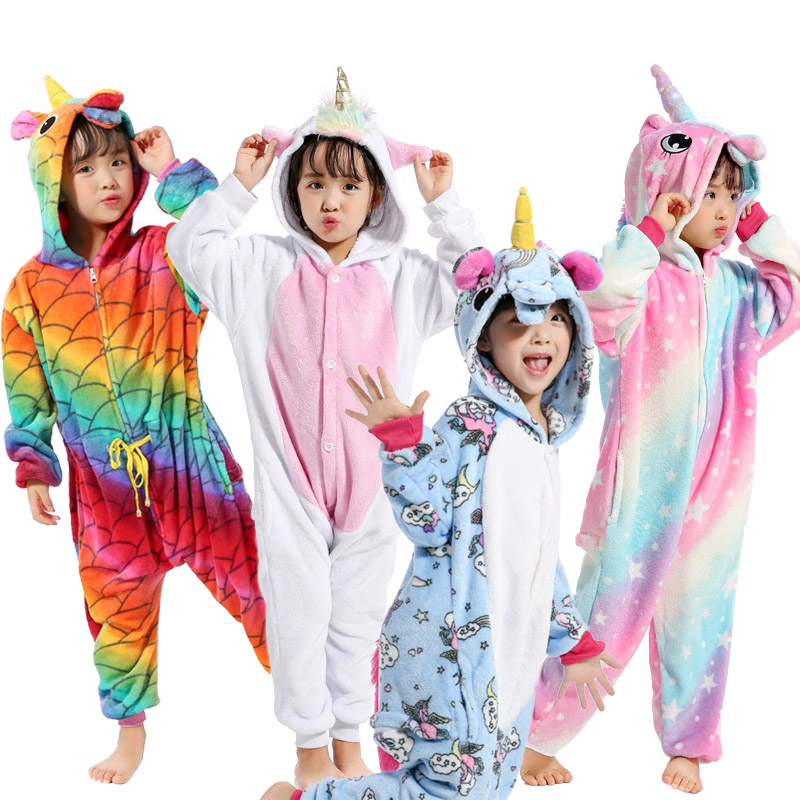 New Kids Sweet font b Animal b font Cosplay Flannel Cartoon Unicorn Stitch Pikachu Girls Boys