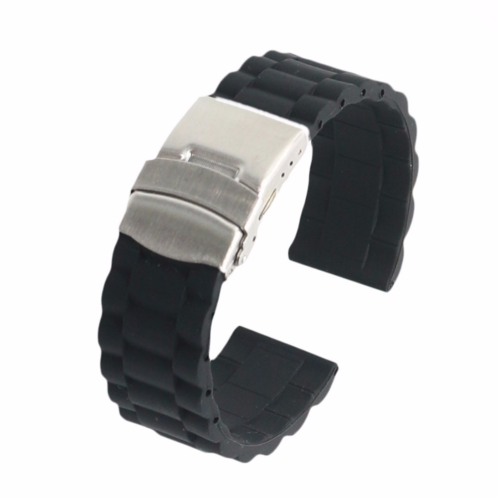18 20 22 24mm New Black Strap Silicone Rubber Waterproof Watch Band Belt Straight End Double Push Stainless Steel Clasp Buckle carlywet new style men women black strap silicone rubber replacement watch band belt special popular