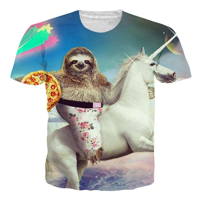 Dropship Mens T-shirt Sloth Pizza Horse Camisetas Unisex Creative Design Hip Hop Homme Tee Shirts Animal Clothes High Quality