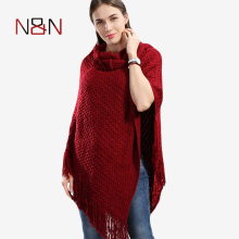 NN Autumn And Winter Knitted Sweater Women Solid Tassel Poncho And Capes Ladies Sweaters And Pullovers Long Cardigan PH16(China)