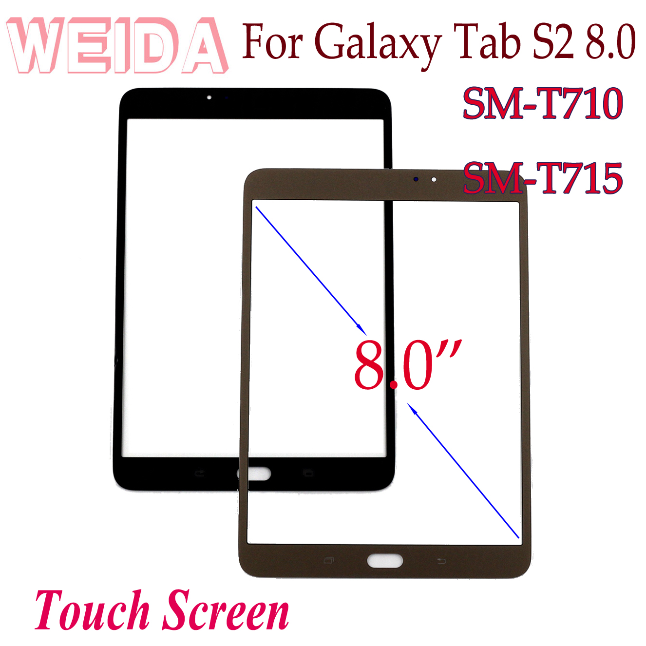 WEIDA Screen Replacment For <font><b>Samsung</b></font> Galaxy <font><b>Tab</b></font> <font><b>S2</b></font> 8.0 SM-T710 SM-T715 Touch Screen Glass Panel image