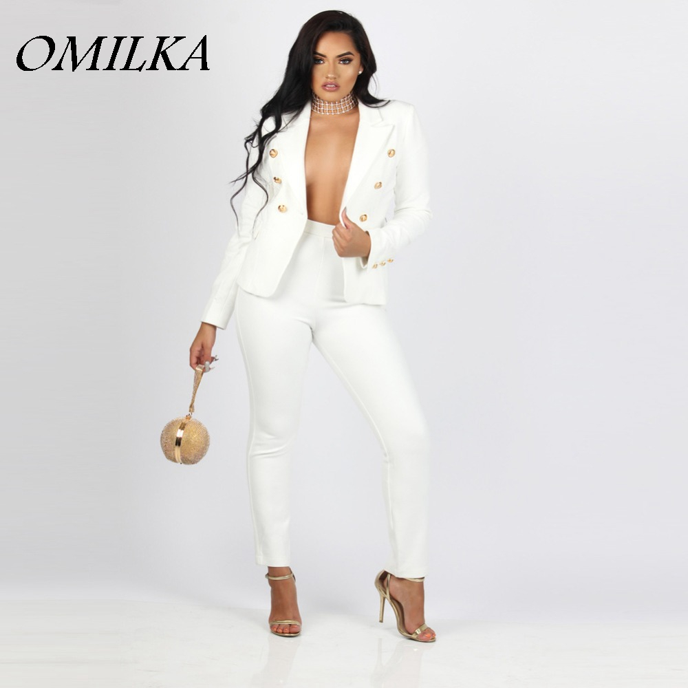OMILKA New 2017Womens 2 Pieces Blazer Sets Blazers and Trouser Suits Casual Lady White Black Business OL Button Trouser Suit