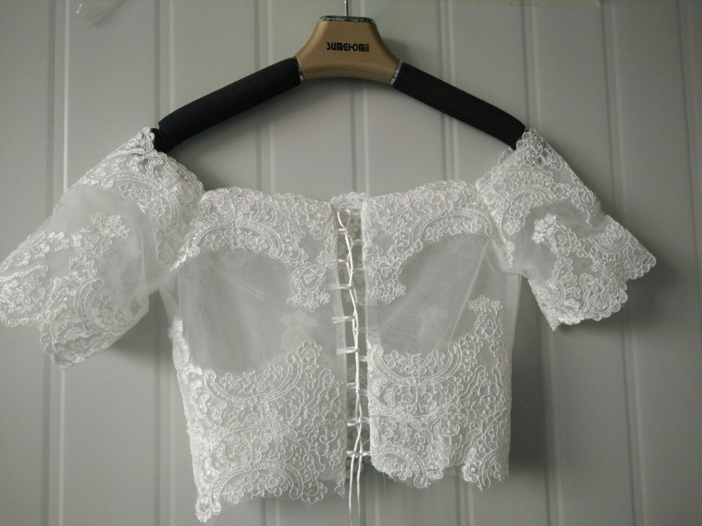 High Quality Elegant Lace Short Sleeves Wedding Wraps Bolero bridal jacket ivory wedding jacket Wedding Accessories 2019