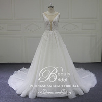 Beatuy bridalLace A Line Wedding Dress 2018 High Quality Custom made Court Train V Neck Wedding Dresses