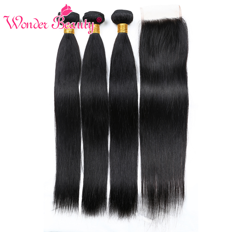 Wonder Beauty India Hair 3 Bundles With 1 Lace Closure Straight Hair Human Hair Extension Middle