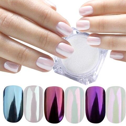 3 Boxes Mirror Powder Set Nail Art Chrome Pigment Dust Shell DIY Glitter Manicure Blue Purple Decor Tips Pakistan