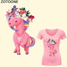 ZOTOONE Cartoon Unicorn Patch Iron on Transfer Flower Patches for Girl Clothing DIY A-Level Washable  Heat Vinyl