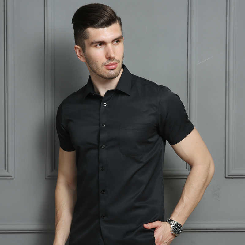 Para hombre vestido Casual Camisa de manga corta blanco rosa azul negro hombre camisa de ajuste Regular para hombres camisetas sociales 4XL 5XL 6XL 7XL 8XL