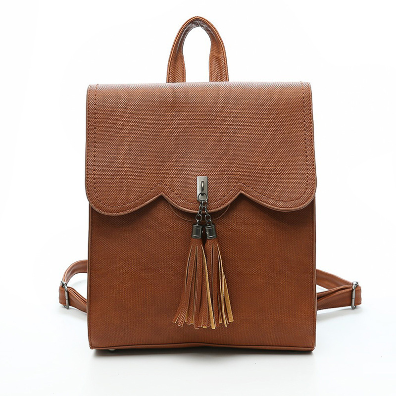 Casual Backpack Tassel Wild Backpack College Wind Fashion Personality Schoolbag Travel Tide Package new tide package suede women bohemian wind retro backpack pu chain men and women lovers tassel bag