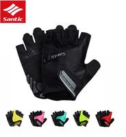 Santic Cycling Gloves Men Women Short Unisex Summer Breathable Anti Skidding Wear Resisting Gel Bicycle Gloves MTB Road Bike
