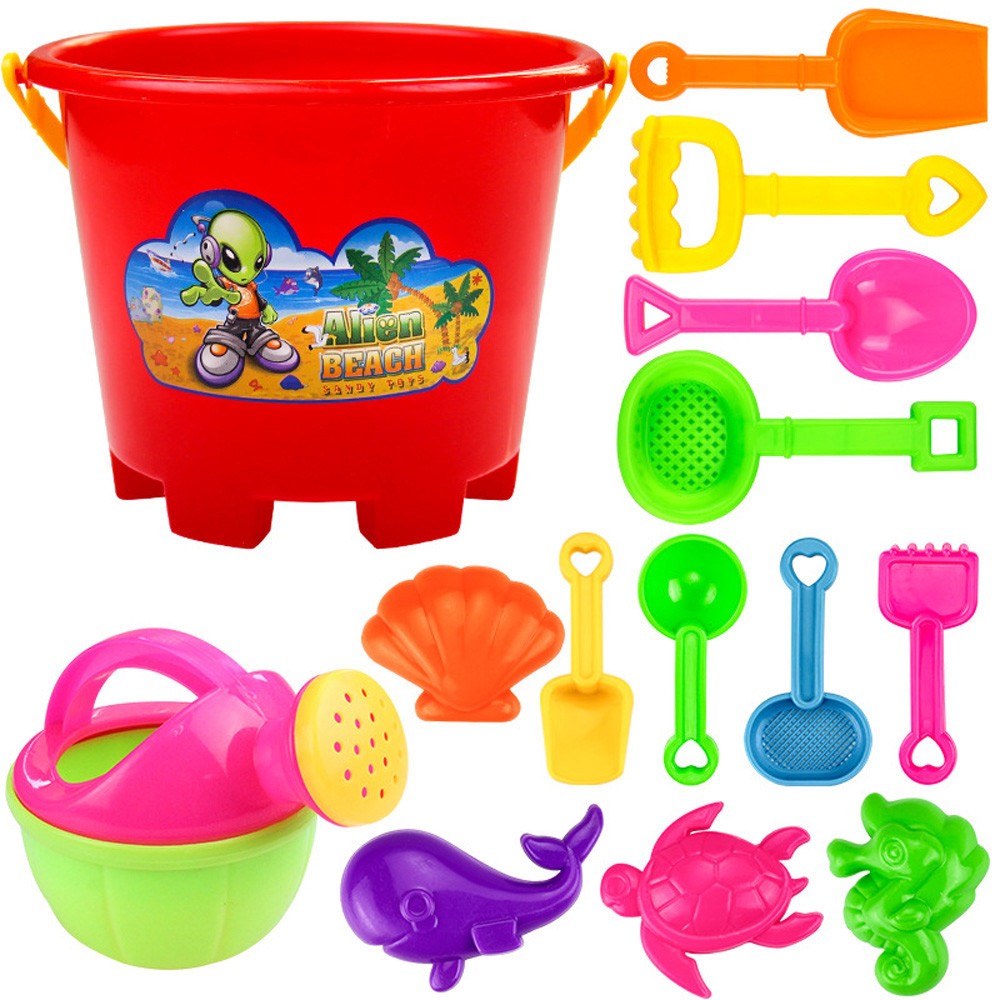 Huang Neeky #501 2019 NEW 14pcs Plastic Beach Tools Set Sand Playing Toys Kids Fun Water Beach Seaside Tools Gifts Free Shipping
