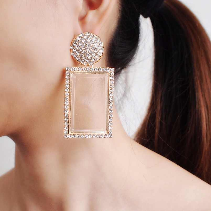 ZA Fashion Jewelry Glass Drop Earrings For Women Shiny Rhinestone Dangle Square Earings For Girls Wedding Accessories UKMOC