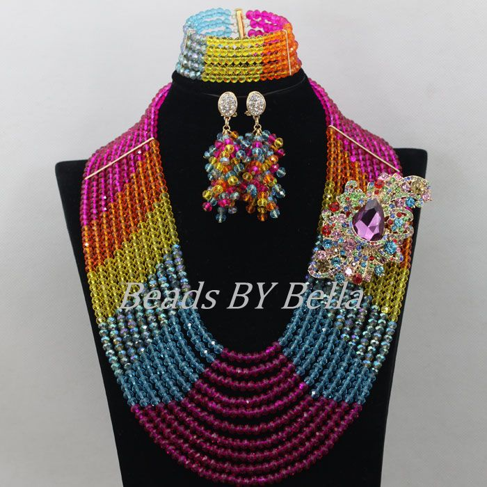Special Long Nigerian Wedding Necklace African Beads Jewelry Set Crystal Women Costume Jewelry Sets New Free Shipping ABF631