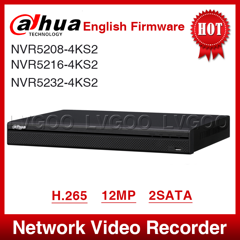 EXPRESS Shipping Dahua NVR5208 4KS2 NVR5216 4KS2 NVR5232 4KS2 16/32CH 1U 4K&H.265 Pro Network Video Recorder 12MP Full HD 2SATA-in Surveillance Video Recorder from Security & Protection    1