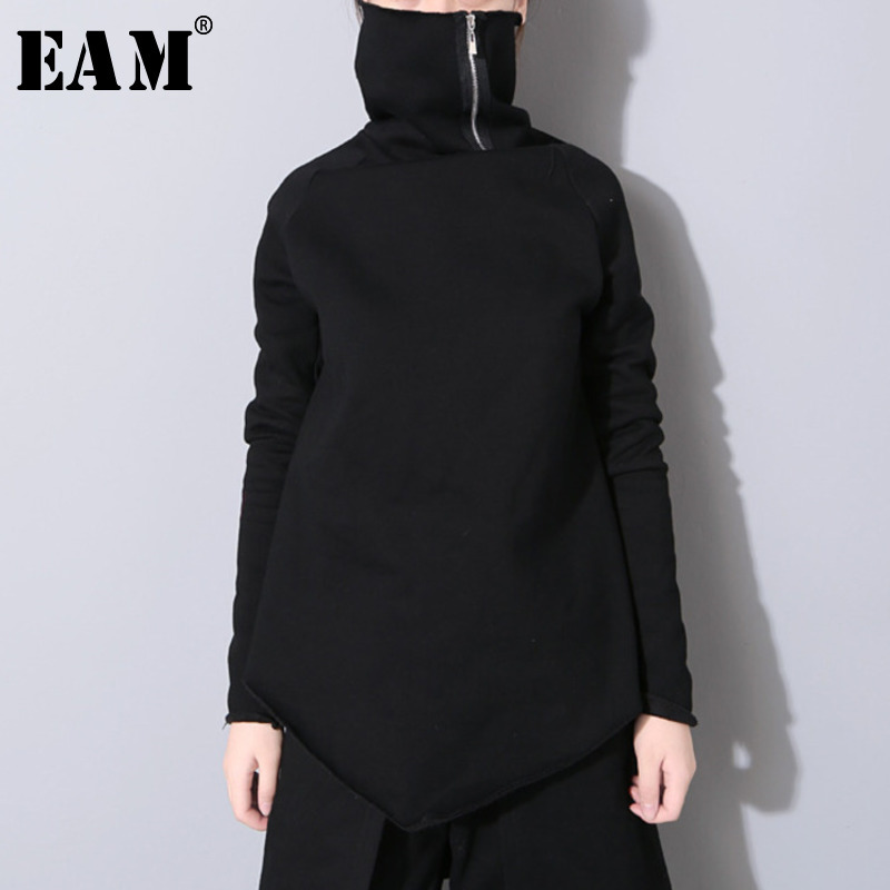 [EAM] 2020 New Spring Pullover Turtleneck Collar Full Sleeve Asymmetrical Loose Sweatshirt Women Fashion Tide OB196