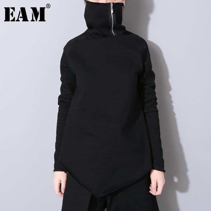[EAM] 2020 New Spring Pullover Turtleneck Collar Full Sleeve Asymmetrical Loose Sweatshirt Women Fashion Tide OB196