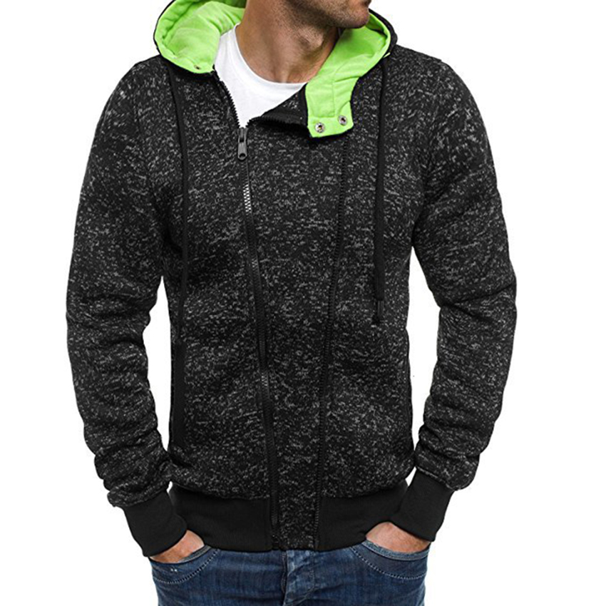 Spring Autumn style Men's Hoodies Casual Hooded Zipper Long Sleeve Sweatshirts Solid Slim Fit Hoodies Mens Clothes Hooded Tops