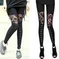New Style See Through Lace Leggings Women Chain Legging Fitness Slim chain Bandage Cross Trouser Patchwork Pants
