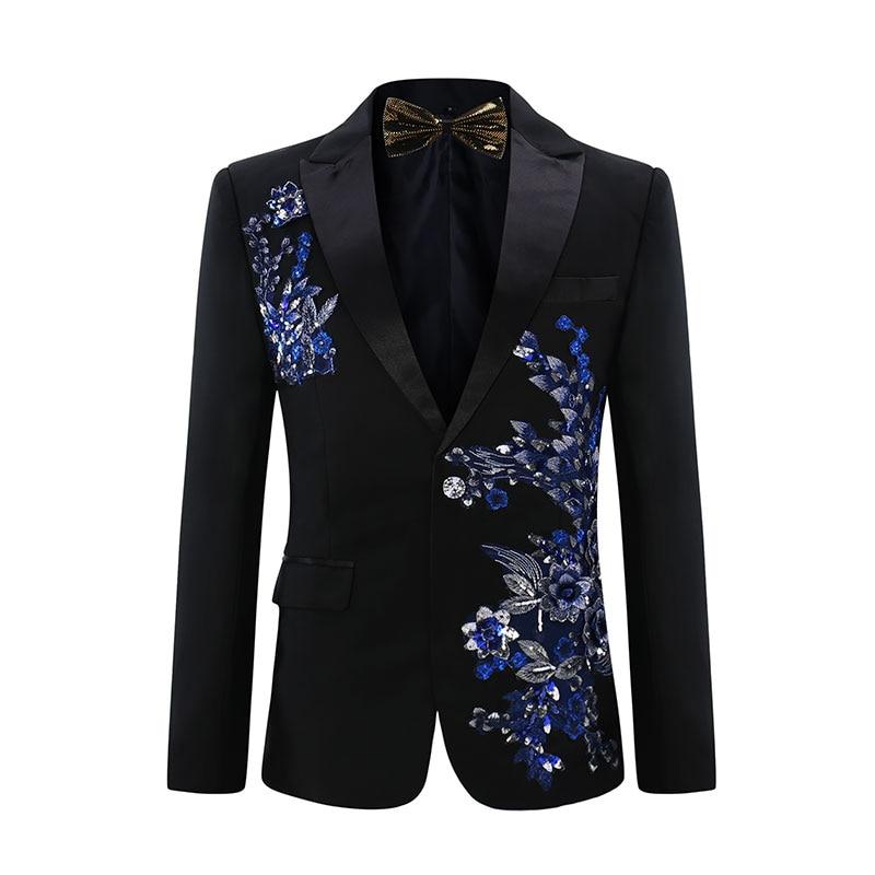 YUNCLOS 2019 nouveaux hommes Applique costume fête robe 2 pièces Tuxedos Slim Fit Terno Masculino luxe diamant fête de mariage costumes-in Costumes from Vêtements homme    2