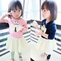 Anlencool 2017 Baby clothing baby dress fall  new children's clothing girls dress bow kitty Korean children dress free shipping