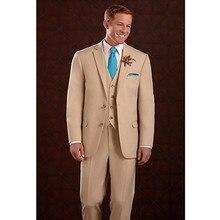 2017 classic groom tuxedo for men khaki wedding suits 3 piece suit wool bleed custom made suit