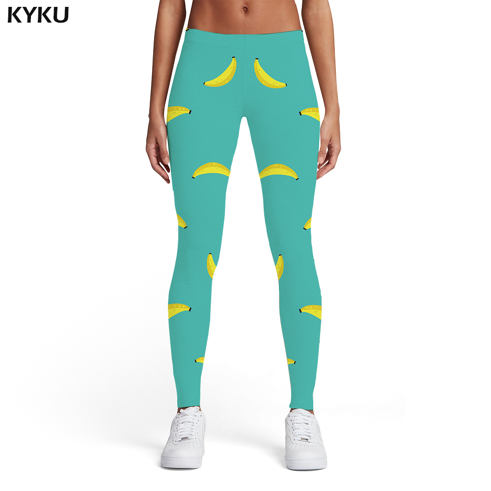 KYKU Brand Banana Leggings Women Fruit Printed Pants Harajuku Trousers Art Ladies Abstract Spandex Womens Leggings Pants