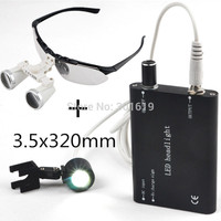 Hot sale 3.5x320mm Dentist Dental Surgical Medical Binocular Loupes Magnifying Glass + Portable LED headlight lamp Black