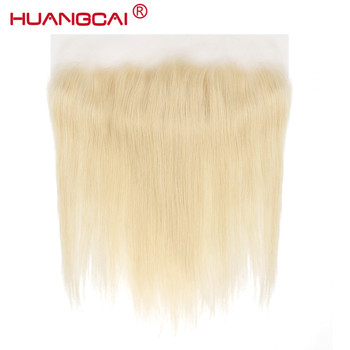Huangcai Hair 613 Lace Frontal Closure Brazilian Straight  Siwss Lace Pre-pluck with Baby Hair 100% Human Remy Hair Blonde Color