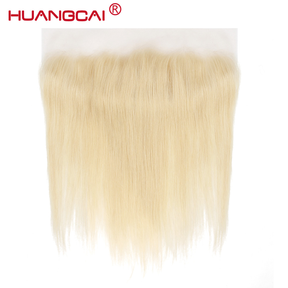 Huangcai Hair 613 Lace Frontal Closure Brazilian Straight Siwss Lace Pre-pluck with Baby Hair 100% Human Remy Hair Blonde Color image