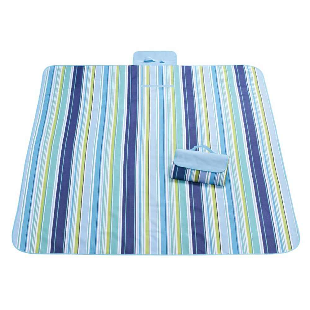 Waterproof Flannel Outdoor Picnic Blanket Mat With Carrying Strap (Blue Strips) D  Shipping