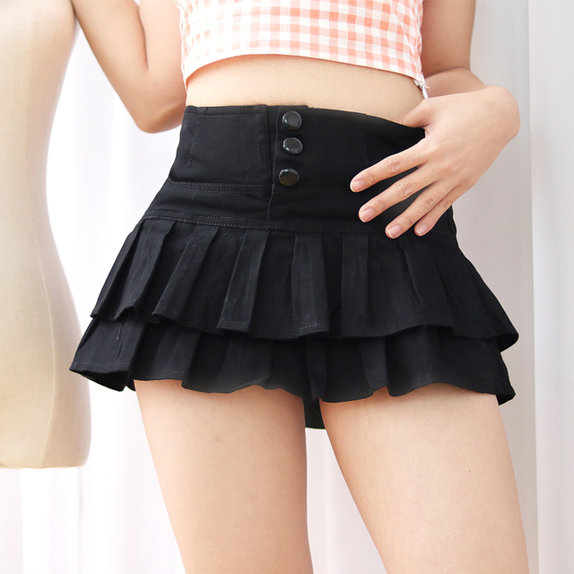 S-XL Summer Korea Fashion Women Solid Color Shorts Skirts White Young Girl Bottoms Ruffles hem Sweet Mid waist Sexy Mini Skirt