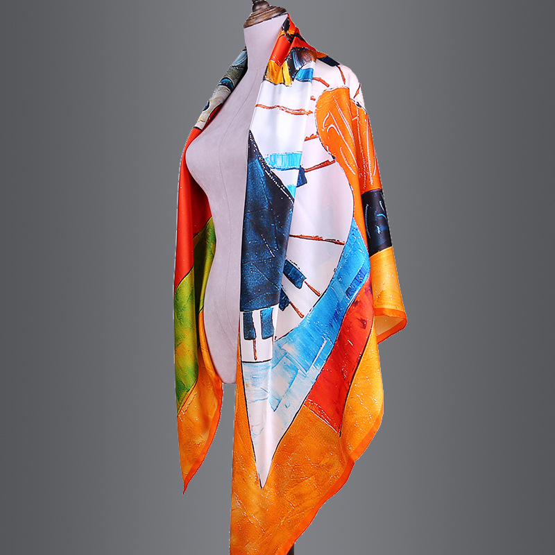 AA01817  New Ladies Shawl High-grade Hand-painted Design 140cm Large Square Towel Women 100% Silk Scarf