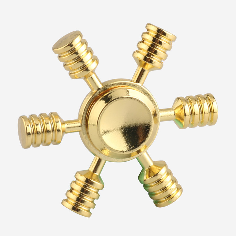 Gold Color Tri Fidget Hand Spinner Metal Alloy Gold Brass Finger Toy ADHD Autism