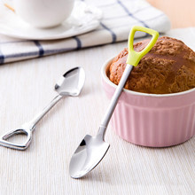 1pcs Stainless Steel Shovel Shape Tea Coffee Sugar Spoon Ice Cream Dessert Spoon 2 Size(China)