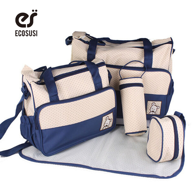 ECOSUSI 7 Colors 5PCS/Set High Quality Tote Diaper Nappy Bag Baby Shoulder Diaper Bags Durable Nappy Bag Mummy Mother Baby Bag