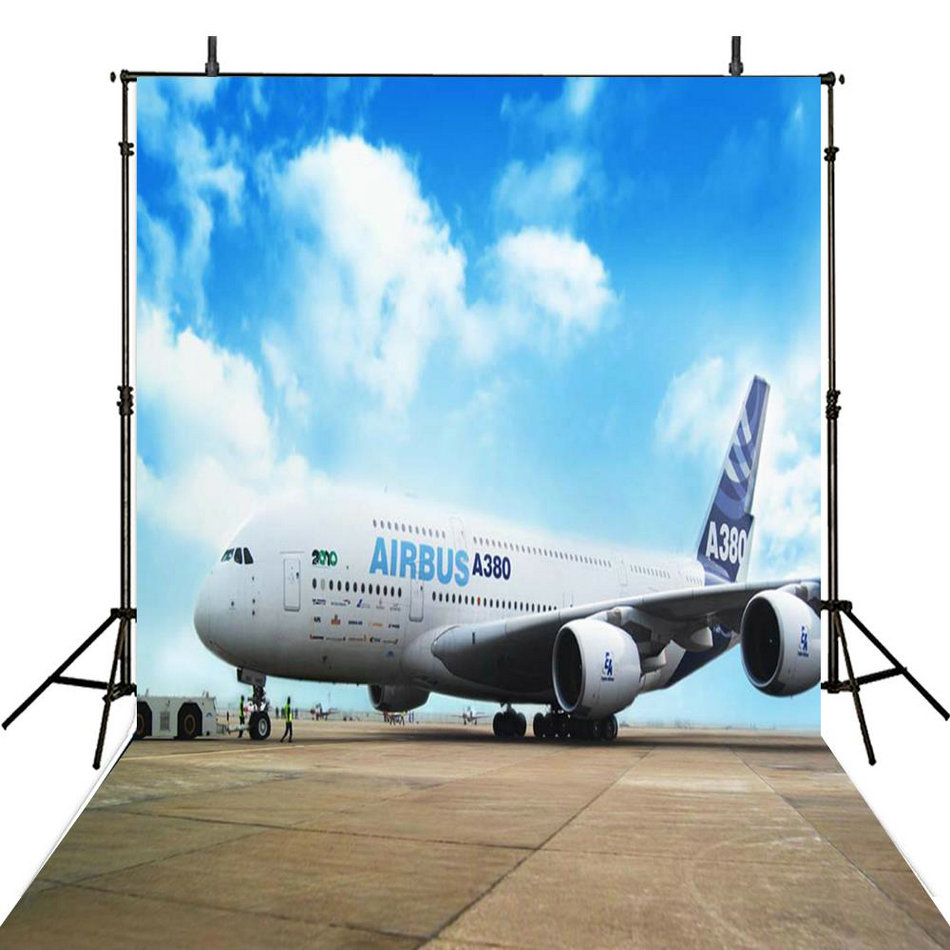 blue sky white clouds plane Background Vinyl cloth High quality Computer print wall photo backdrop
