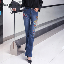 BUMPERCROP Women Wide Lag Pants High Waist Jeans Skinny Embroidery Bird Flower Mon Denim Pants Lady New Street Style Full Length цена