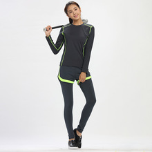 Spring Autumn Women Fitness Suits Elastic Moisture-wicking Sportswear Sets Yoga Dancing Running Faux Three-piece Gym Sets M-XXL