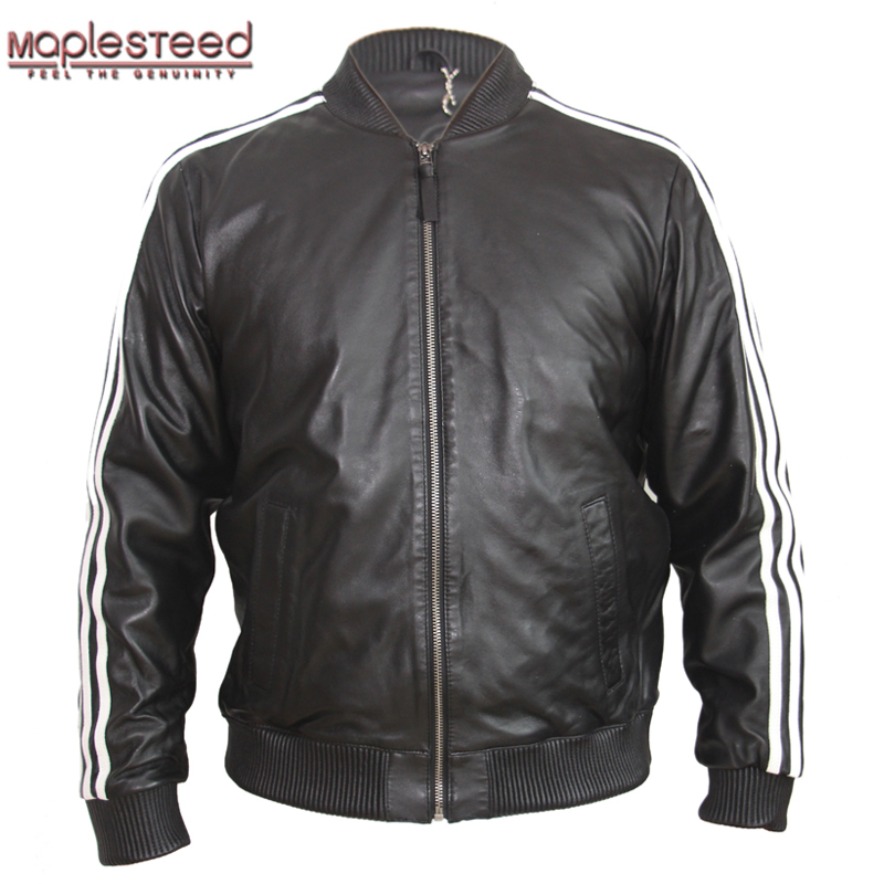 MAPLESTEED Men's Leather Jacket 100% Sheep Skin Black Red White Stripes Spring Autumn Male Leather Jackets Boy Leather Coat M138