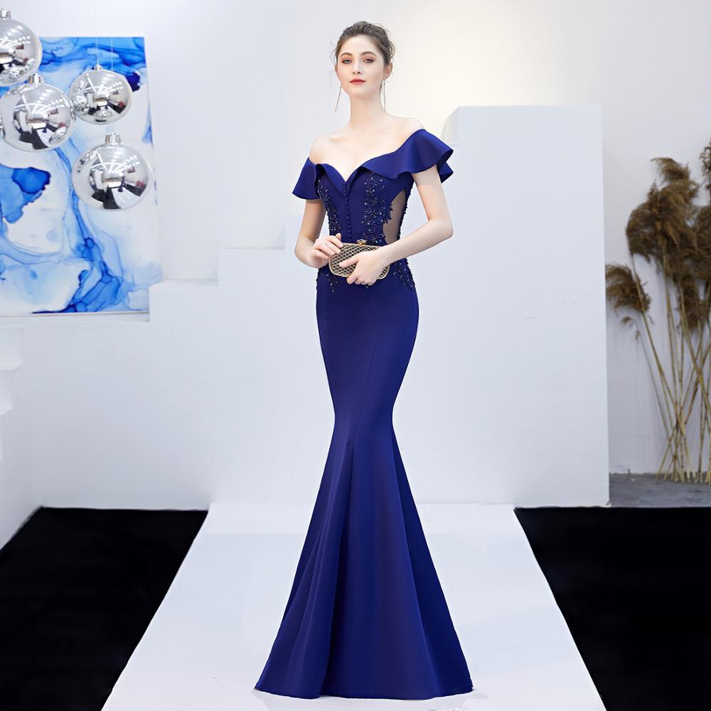 2018 letnia sukienka kobiety Vestidos Verano wieczór syrenka suknia siatki Slash Neck kwiat długi Slim formalne Party sukienka w dużym rozmiarze szata Femme w Suknie od Odzież damska na  Grupa 1