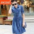 Mulheres moda verão 2017 nova denim dress 4xl plus size a linha Plissadas Mini Calças de Brim Vestidos Casuais Elegante Meia Manga Fino Q69
