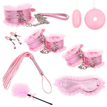 8Pcs/set Sexy Lingerie PU Leather bdsm Bondage Set Sex Hand Cuffs Footcuff Whip Rope Blindfold Erotic Sex Toys For Couples(China)