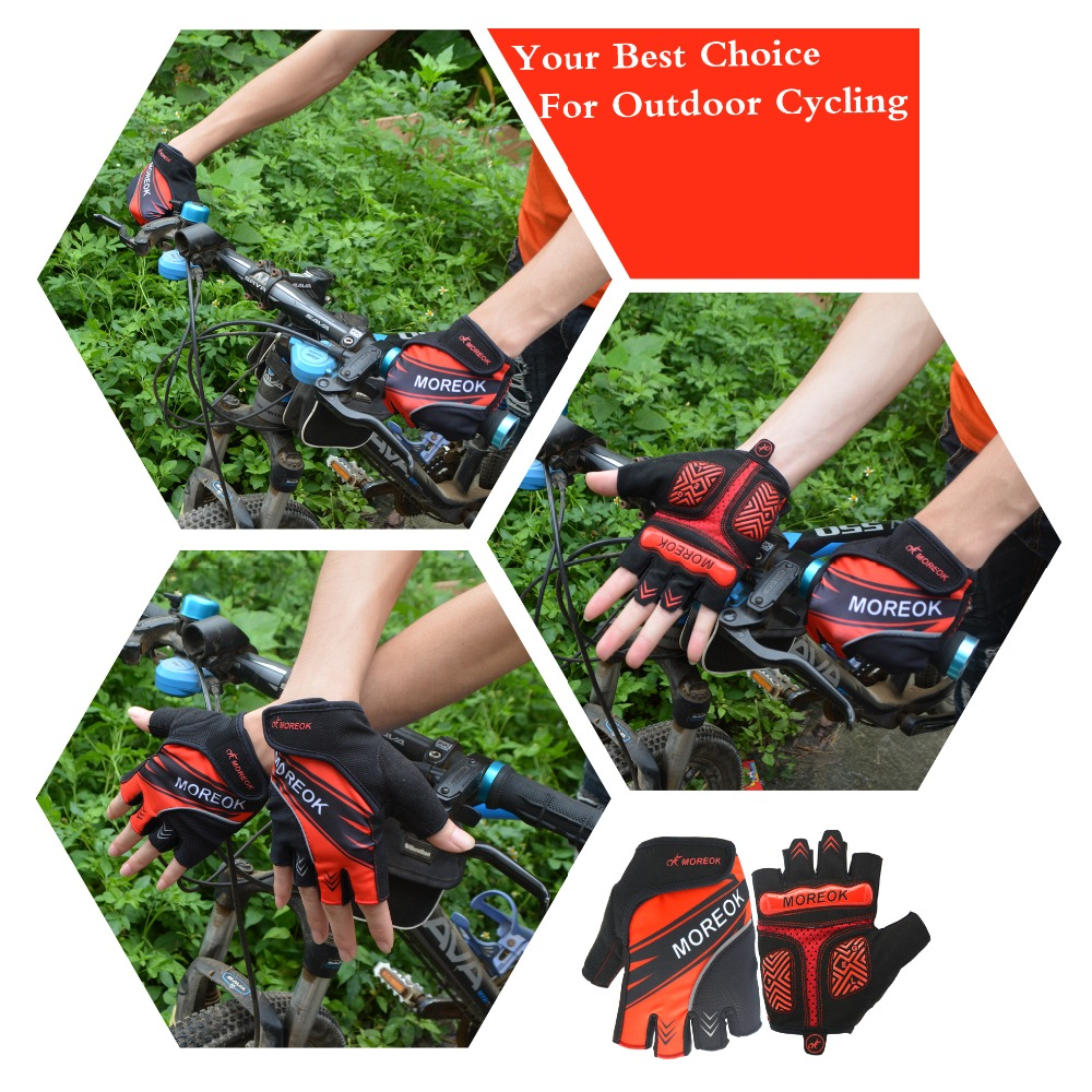 Купить с кэшбэком MOREOK half finger Shockproof Breathable Road Bike Cycling Gloves Bike Cycling Antiskid Bicycle Dirt Bike Cycle for Men Women