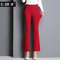 2016 Autunm Winter Women Pants High Elastic Waist Skinny Formal Flare Pants Patchwork Office Female Trousers