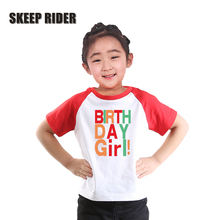 Kid Birthday Shirt Happy Letter Tee T Girls Printing Clothes Cotton Tops Summer O-Neck