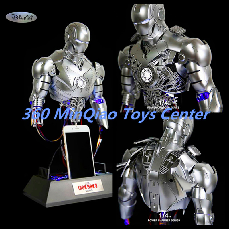 Iron Man 1:4 Charging Version Of The Statue Maintenance Version Bust MK2 Venue Version Half-Length Photo Or Portrait WU807 statue avengers captain america 3 civil war iron man tony stark 1 2 bust mk33 half length photo or portrait with led light w216