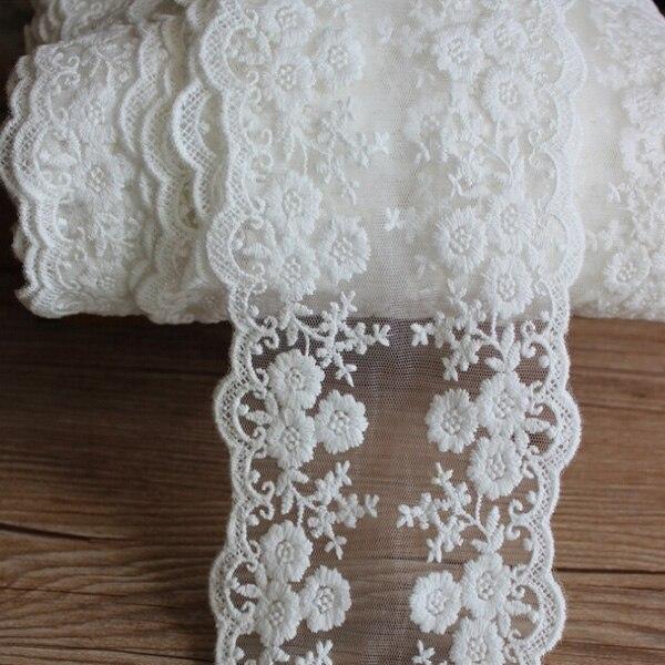 1 ярд белый вышитый цветочный кружевной отделкой хлопок Тюль DIY Швейные отделка Ремесло для свадебное платье костюм бантом аксессуары для волос